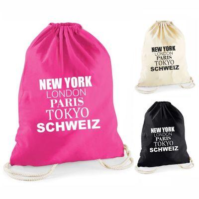 """Statement-Turnbeutel """"New York, London, Paris, Tokyo, Schweiz"""""""