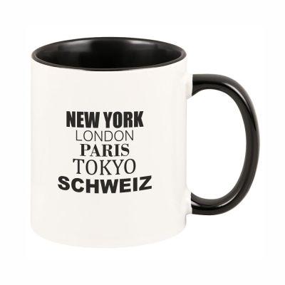 """Tasse """"New York, London, Paris, Tokyo, Schweiz"""""""