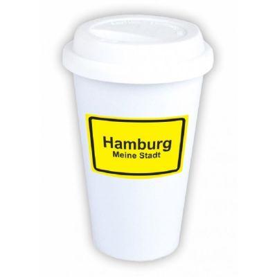 """Coffee-to-go Becher """"Ortsschild Hamburg"""""""