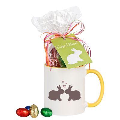 """Tasse """"Küssende Hasen"""" mit Schokolade"""