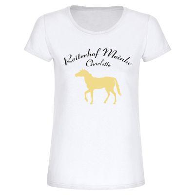 "Personalisiertes T-Shirt ""Reiterhof & Name"" - Damen"