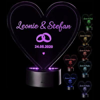 """LED Motivlampe - personalisierte 3D Herzleuchte """"Ring-Motiv"""""""