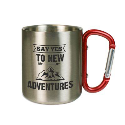 "Karabinertasse ""Say yes to new adventures"""