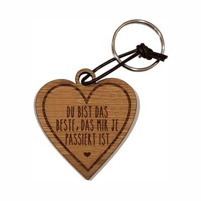 """Schlüsselanhänger aus Holz """"Das Beste was mir je passiert ist"""" (Herz)"""