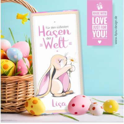 """Personalisierte Osterschokolade """"Für den süßesten Hasen der Welt"""" (rosa Hase) mit Namen"""