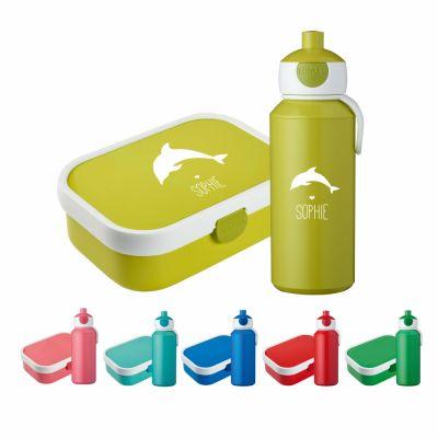 "Set ""Delfin Silhouette"" - Brotdose & Trinkflasche - personalisiert"