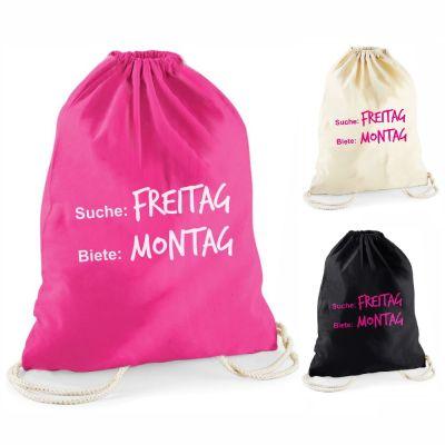 """Statement-Turnbeutel """"Suche: Freitag - Biete: Montag"""""""