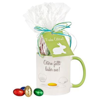 """Tasse """"Ostern fällt leider aus!"""" mit Schokolade"""
