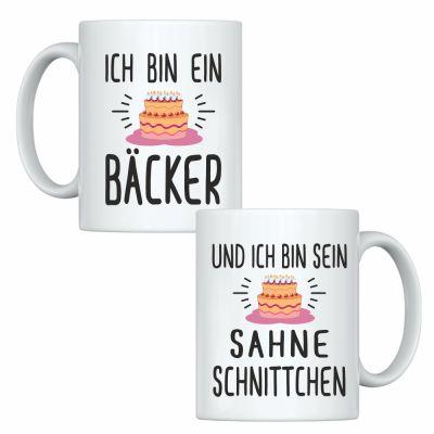 """Tassen-Set """"Ich bin ein Bäcker"""" & """"Und ich bin sein Sahneschnittchen"""""""