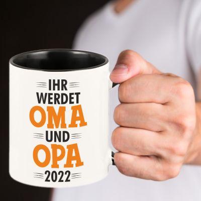 """Tasse """"Ihr werdet Oma und Opa"""" Design: Orange"""