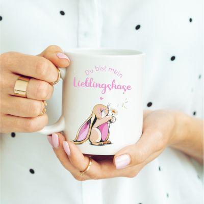 """Weiße Tasse """"Du bist mein Lieblingshase!"""" - rosa Hase"""