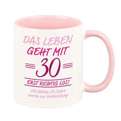 """Personalisierte Rosa Tasse """"Das Leben geht erst richtig los"""" mit Wunschzahl"""