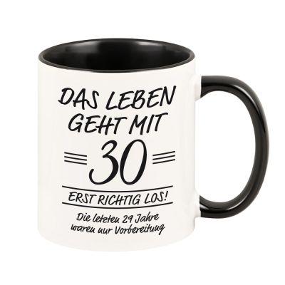 """Personalisierte Tasse """"Das Leben geht erst richtig los"""" mit Wunschzahl schwarz"""