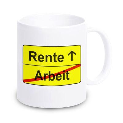 """weiße Tasse """"Arbeit -> Rente"""""""