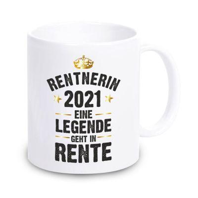 """weiße Tasse """"Rentner / Rentnerin 2021 - Eine Legende geht in Rente"""""""