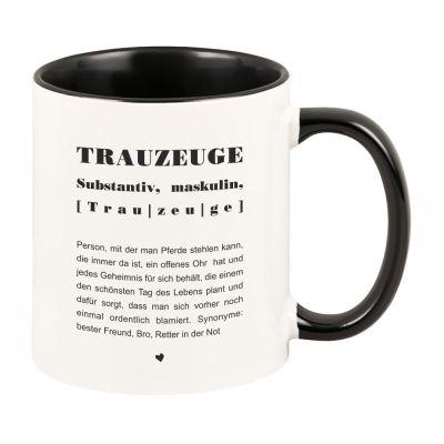 """Tasse mit schwarzem Henkel """"Trauzeuge, Definition"""""""