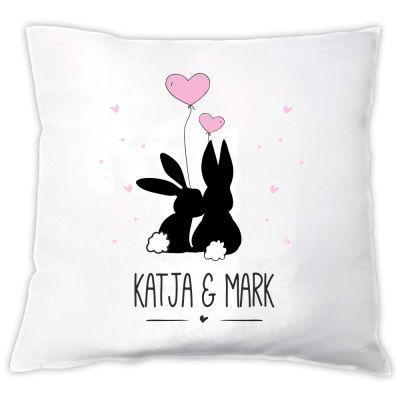 """Kissen """"Verliebte Hasen"""" - personalisiert"""