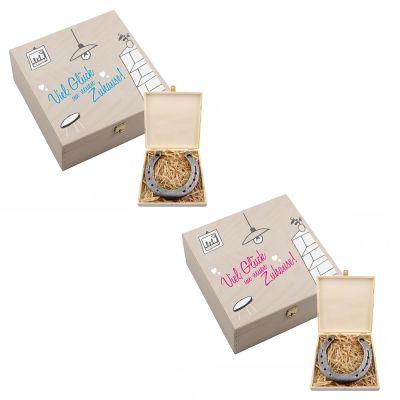 """Hufeisen-Box """"Viel Glück im neuen Zuhause"""" - rosa oder hellblau"""