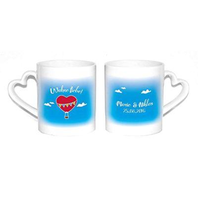 """Herz-Tassen """"Wahre Liebe!"""" mit Namen & Datum"""