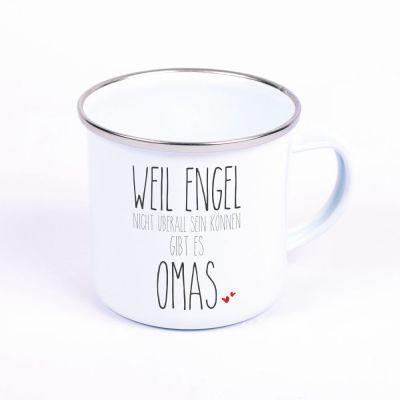 """Metalltasse Emaille Look """"Weil Engel nicht überall sein können, gibt es Omas"""""""