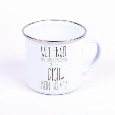 """Metalltasse Emaille Look """"Weil Engel nicht überall sein können, gibt es Dich mein Schatz"""""""