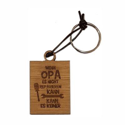 """Schlüsselanhänger aus Holz """"Wenn Opa es nicht reparieren kann…"""" (eckig)"""