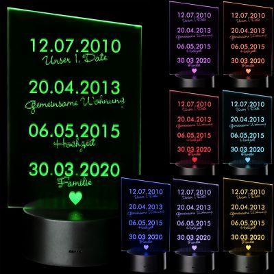 "LED Motivlampe - personalisierte 3D Leuchte ""Gemeinsamer Werdegang"""