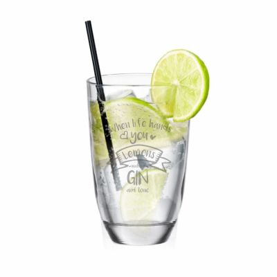 """GIN-Glas """"When life hands you Lemons - make a GIN and tonic"""""""