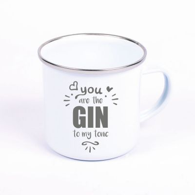 """Metalltasse Emaille Look """"You are the GIN to my Tonic"""""""