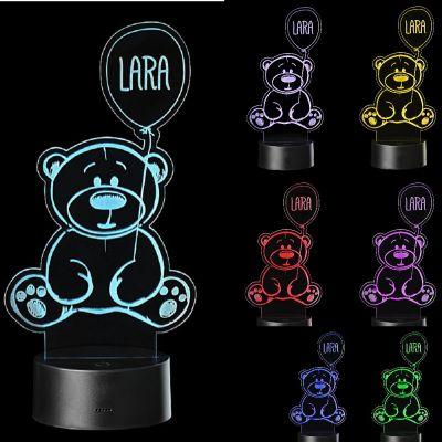 "LED Motivlampe - personalisierte 3D Leuchte ""Bär"""