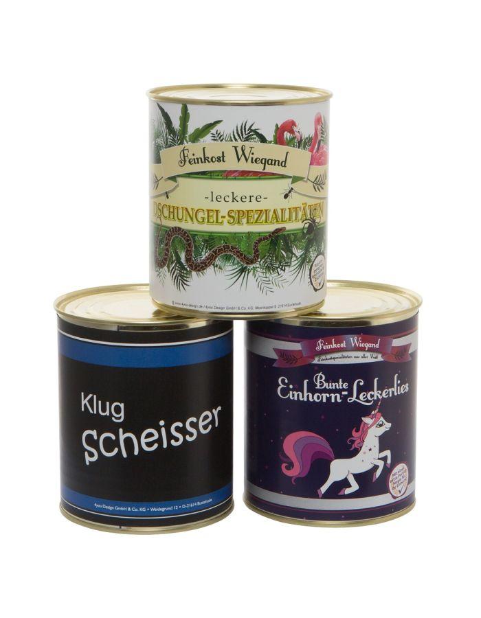3er-Set aus der Dose (Einhorn-Leckerlies, Klugscheisser, Dschungel-Spezialitäten)