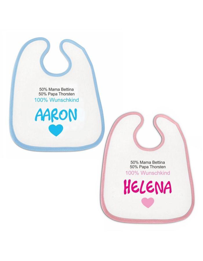 """Lätzchen """"100% Wunschkind"""" - personalisiert (Farbe: rosa oder blau)"""