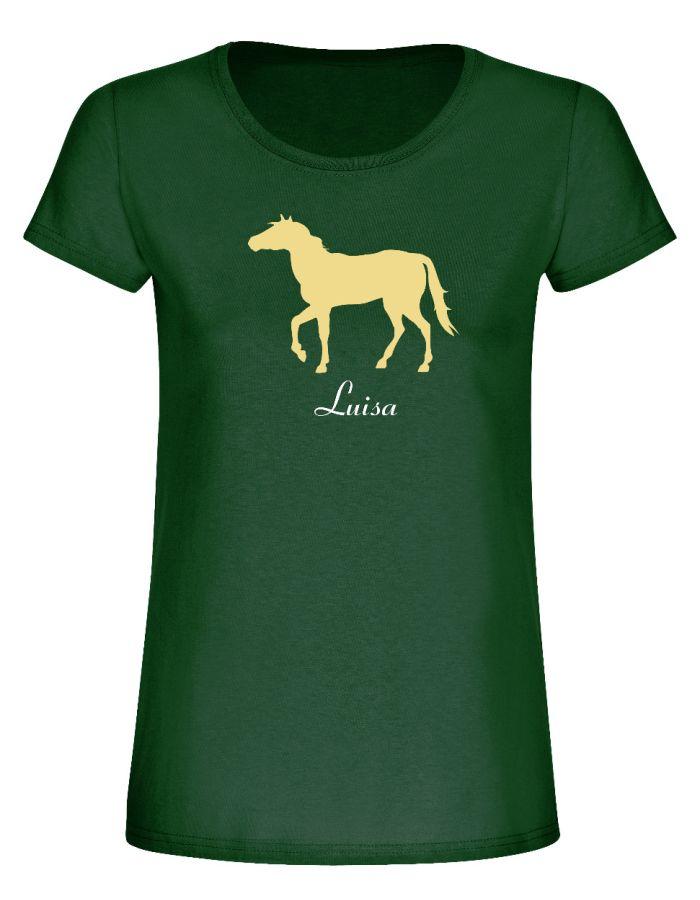 Personalisiertes T-Shirt mit Pferdemotiv & Name - Damen