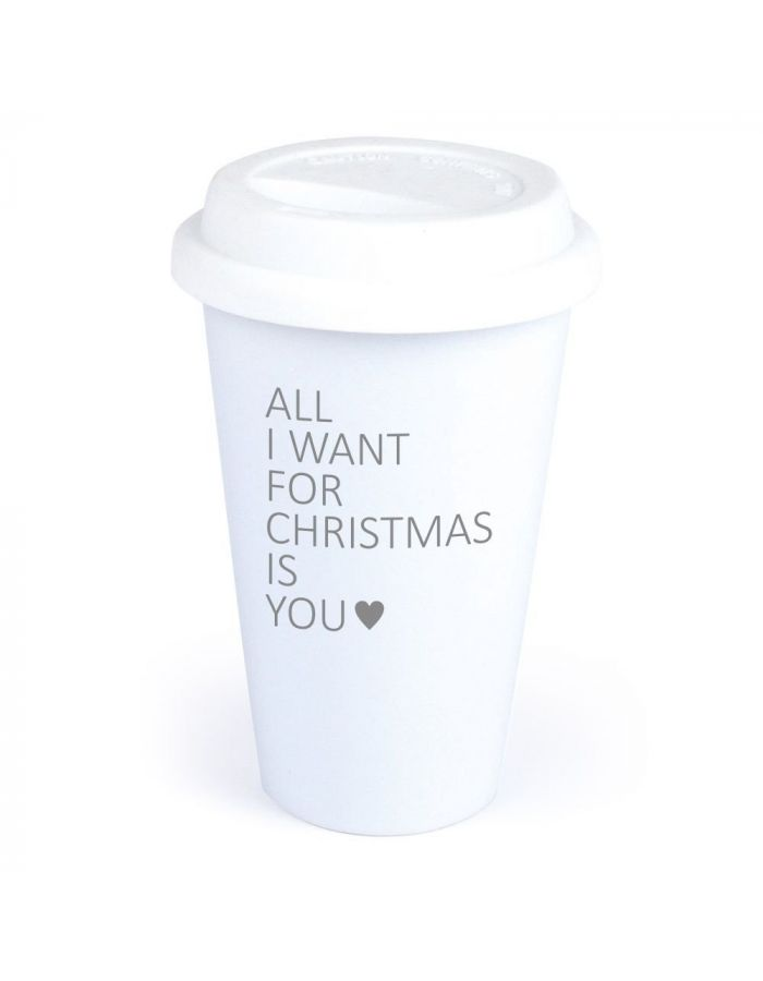 "Coffee-to-go Becher ""All I want for christmas is you"" (Motiv: ein Herz)"
