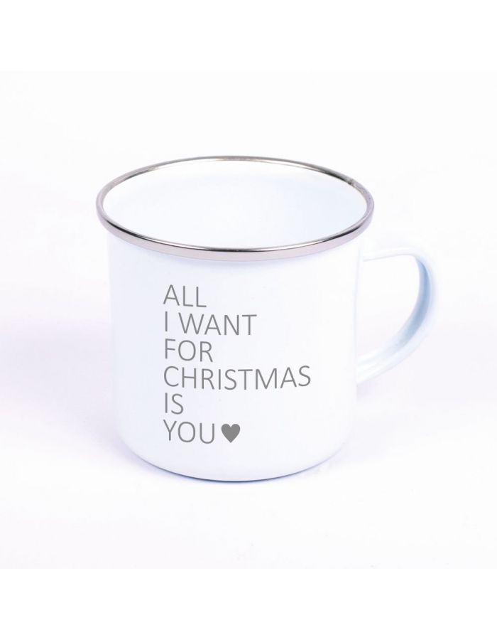 "Metalltasse Emaille Look ""All I want for christmas is you"" (Motiv: ein Herz)"