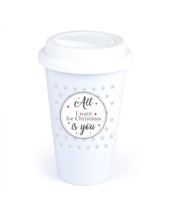 "Coffee-to-go Becher ""All I want for christmas is you"" (Motiv: Kreis mit kleinen Sternen)"