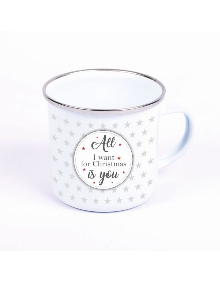 "Metalltasse Emaille Look ""All I want for christmas is you"" (Motiv: Kreis mit kleinen Sternen)"