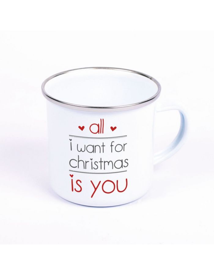 "Metalltasse Emaille Look ""All I want for christmas is you"" (Motiv: zwei Herzen)"