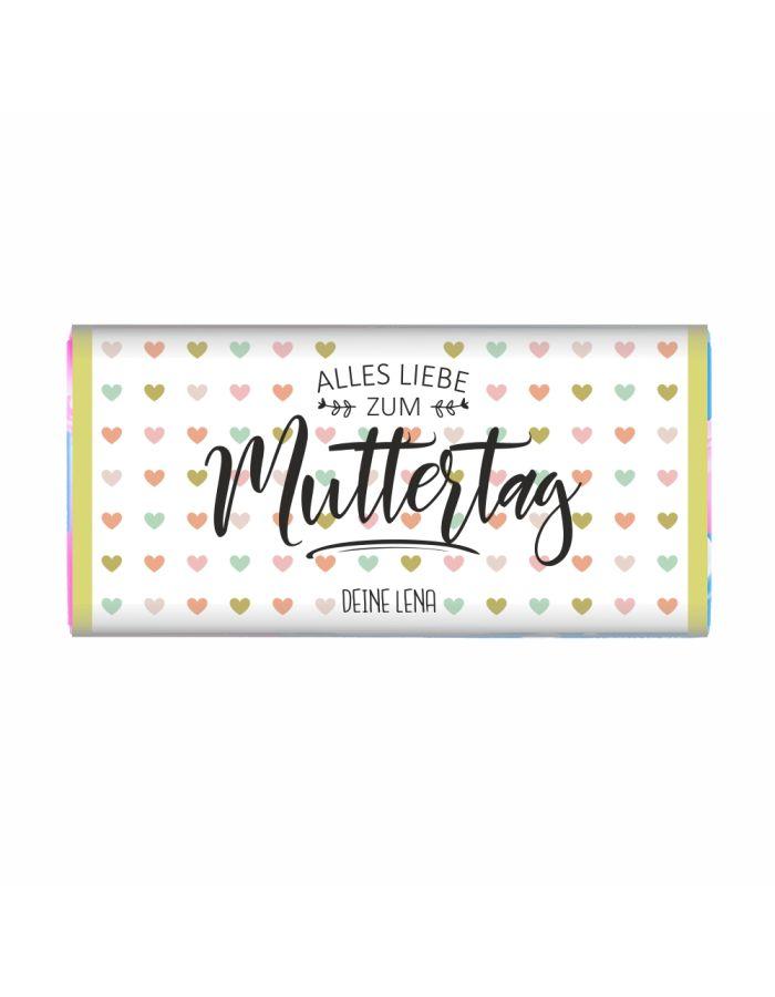 """Personalisierte Schokolade """"Alles Liebe zum Muttertag!"""" (bunte Herzen)"""