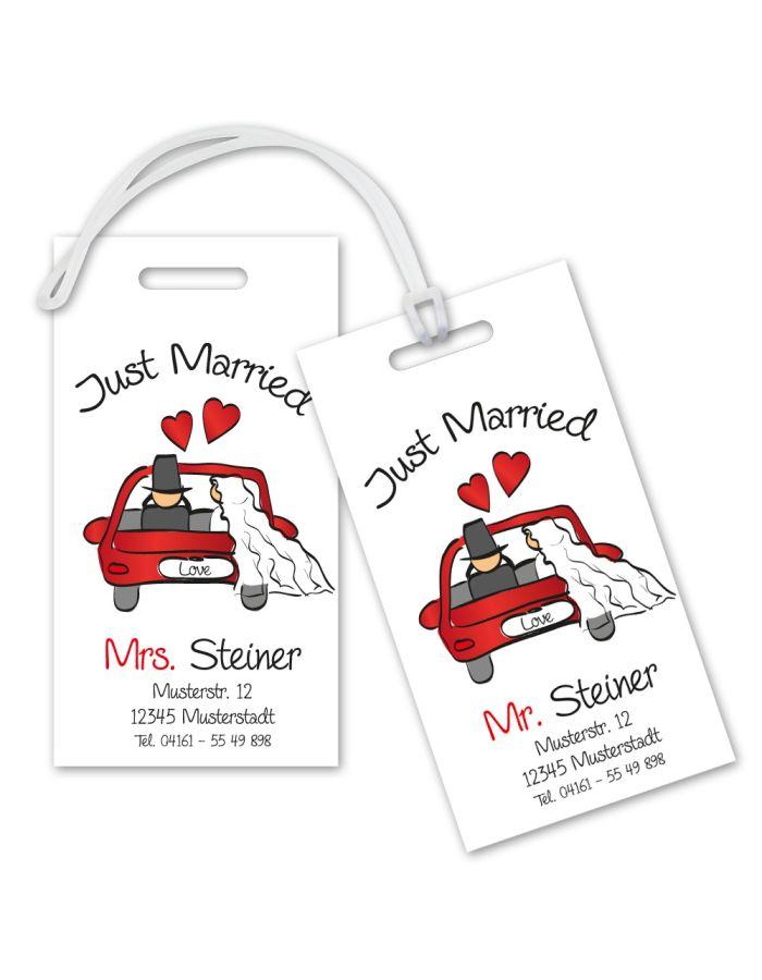 "Kofferanhänger-Set ""Just Married"" - personalisiert"