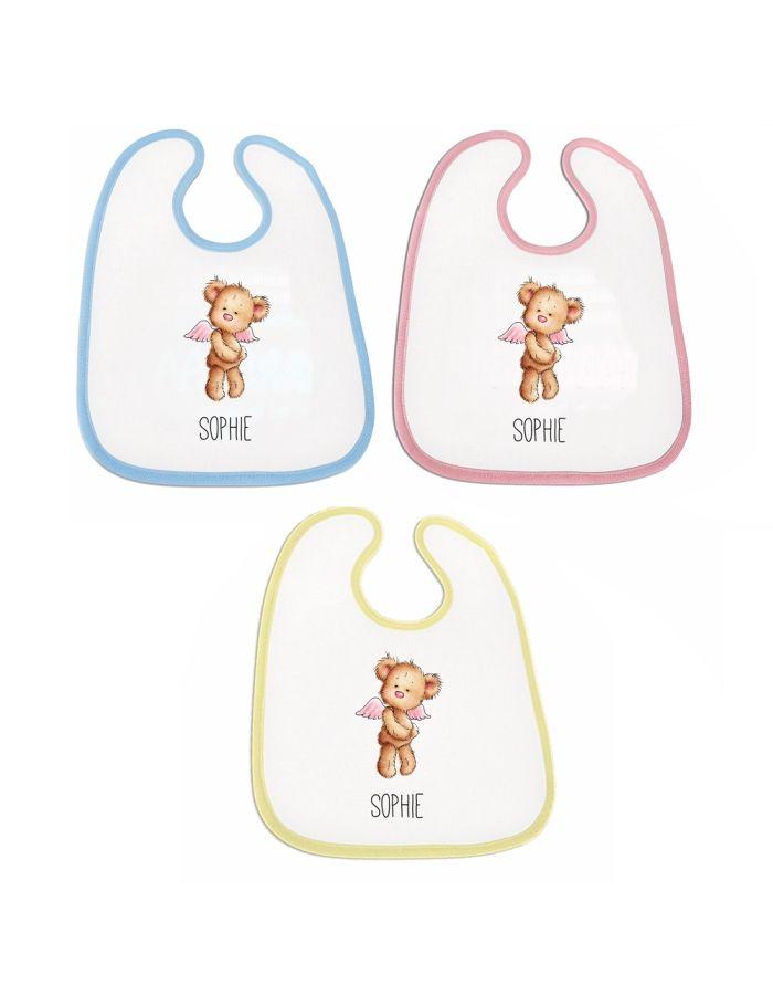 """Lätzchen """"Bär mit Flügeln"""" - personalisiert (Farbe: rosa, blau oder gelb)"""