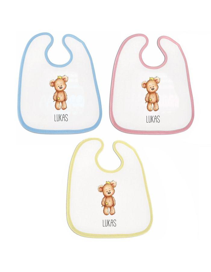 """Lätzchen """"Bär mit Sternchen"""" - personalisiert (Farbe: rosa, blau oder gelb)"""