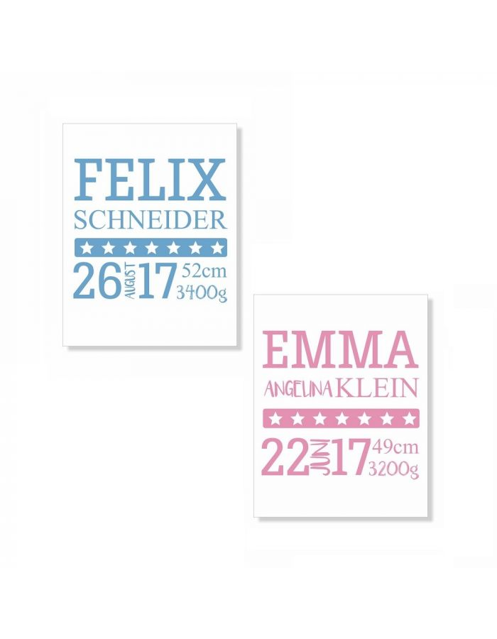 Poster zur Geburt für Mädchen oder Junge - personalisiert (verschiedene Größen)