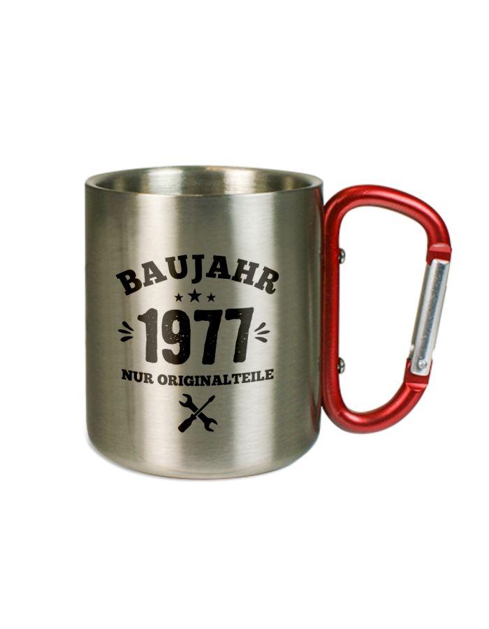 """Karabinertasse """"Baujahr"""" - personalisiert"""
