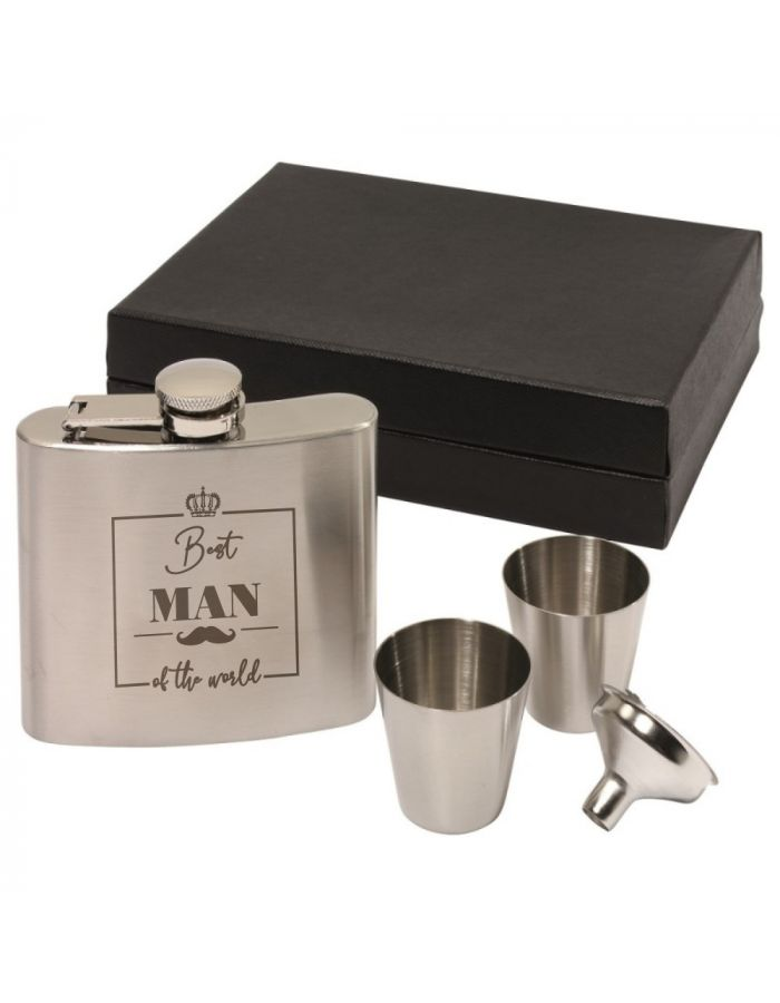 "Flachmann Set ""Best Man of the World"" (Schnurrbart)"