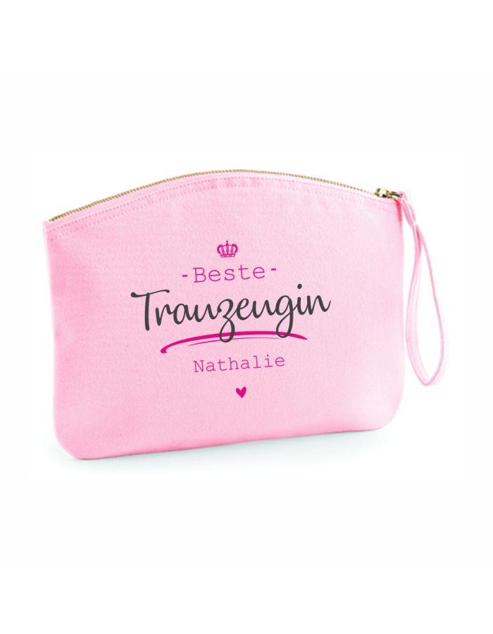 "Personalisierte Kulturtasche ""Beste Trauzeugin"" - rosa"