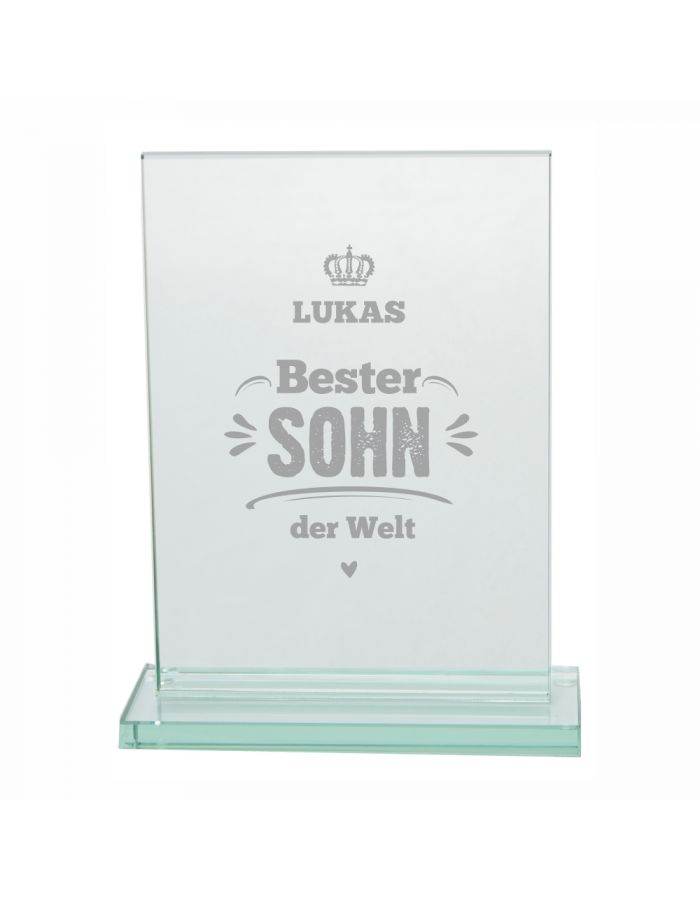 "Glaspokal ""Bester Sohn der Welt"" - personalisiert"