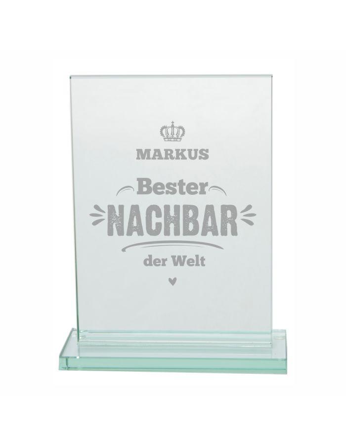 """Glaspokal """"Bester Nachbar der Welt"""" - personalisiert"""