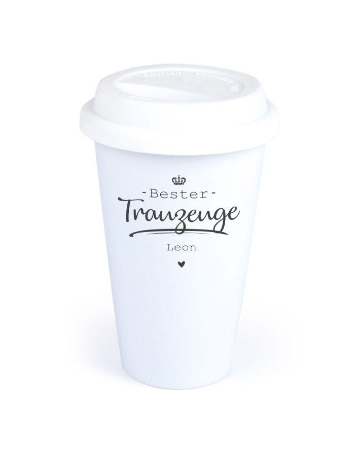 "Personalisierter Coffee-to-go Becher ""Bester Trauzeuge"""