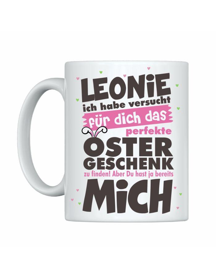"""Weiße Tasse """"Das perfekte Ostergeschenk"""" mit Personalisierung"""